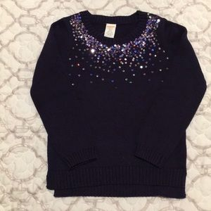 Gymboree Girls Sequin Navy Sweater Sz S (5-6)